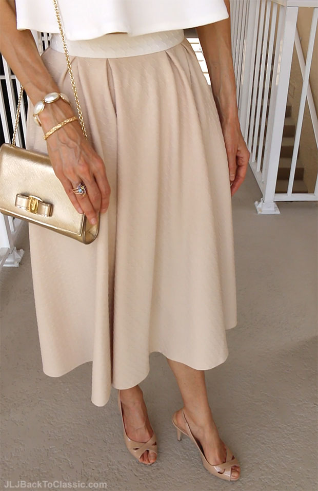 Classic-Fashion-Over-40-Blush-Midi-Skirt-Guess-Slingback-Pumps-Gold-Salvatore-Ferragamo-Vara