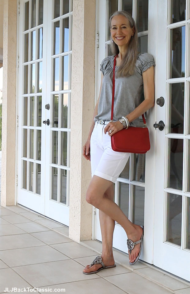 Classic-Fashion-Over-40-Ann-Taylor-White-Shorts-Tory-Burch-Miller-Sandals