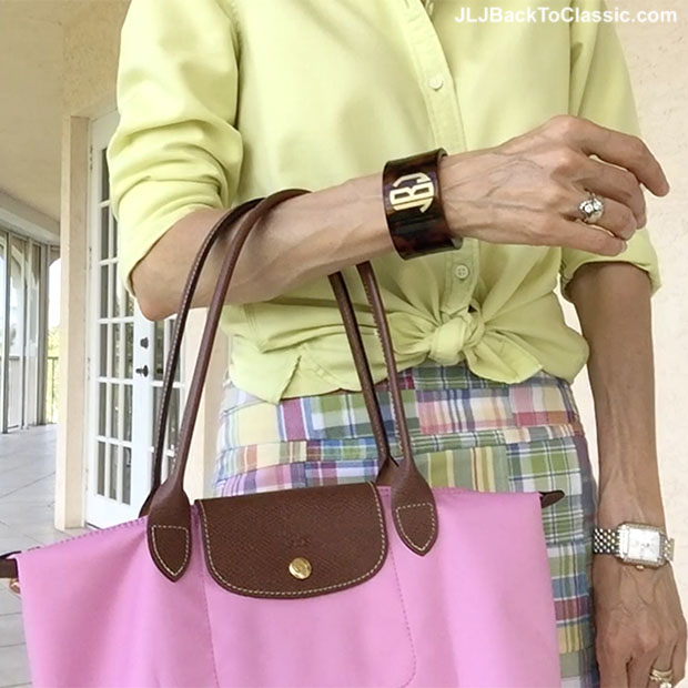Preppy-Land's-End-Oxford-Monogrammed-Tortoise-Cuff-Michele-Watch-Longchamp-Tote