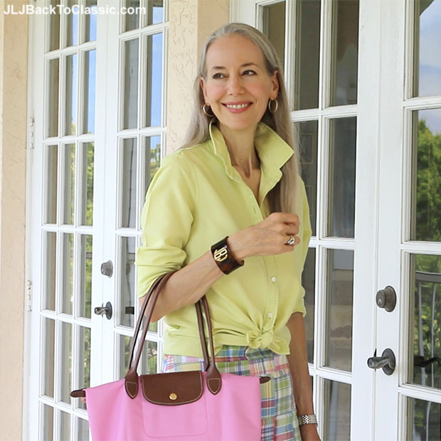 Classic-Fashion-Over-40-Land's-End-Oxford-Monogrammed-Tortoise-Cuff-Longchamp-Tote