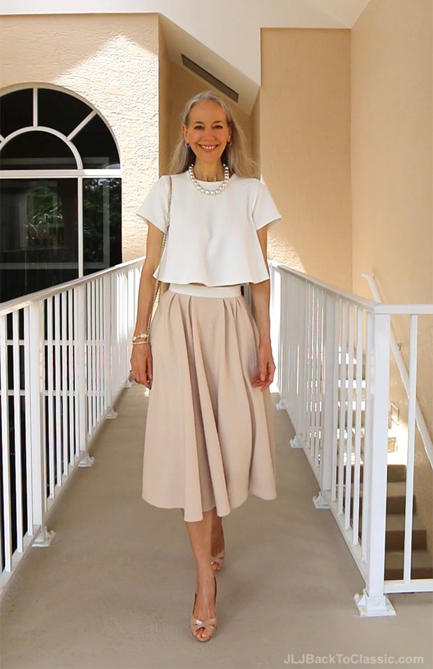 Classic-Fashion-Over-40-Ivory-Top-Blush-Midi-Skirt-Salvatore-Ferragamo-Vara