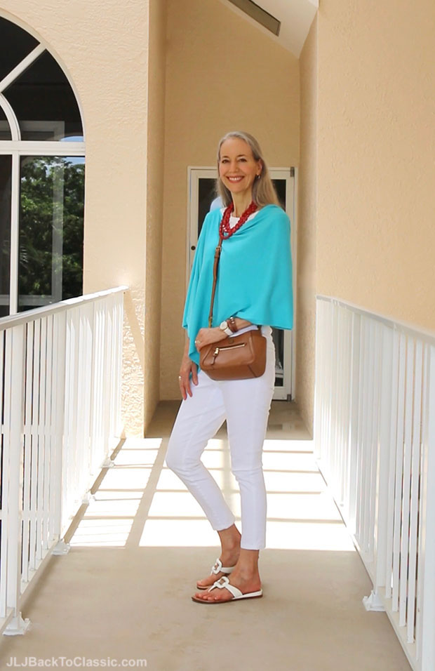Classic-Fashion-Over-40-Turquoise-Poncho-White-Jeans-Tee-Tory-Burch-Crossbody