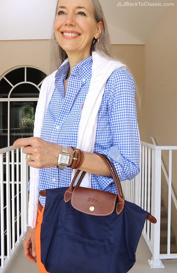 Classic-Fashion-Over-40-50-Ralph-Lauren-Gingham-Shirt-Longchamp-Bag