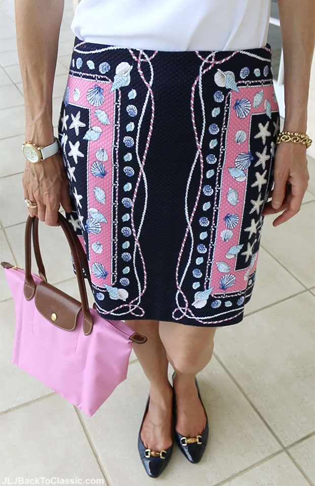 Classic-Fashion-Over-50-Talbots-Flats-and-Pink-Navy-Skirt-Longchamp-Tote
