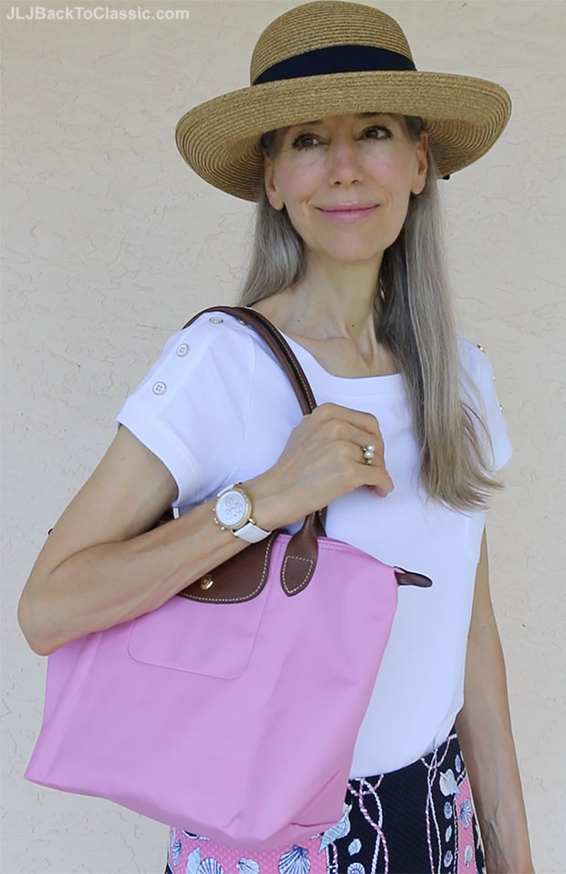 Classic-Fashion-Over-50-Talbots-Pink-Navy-Skirt-Longchamp-Tote-Tuckernuck-Hat