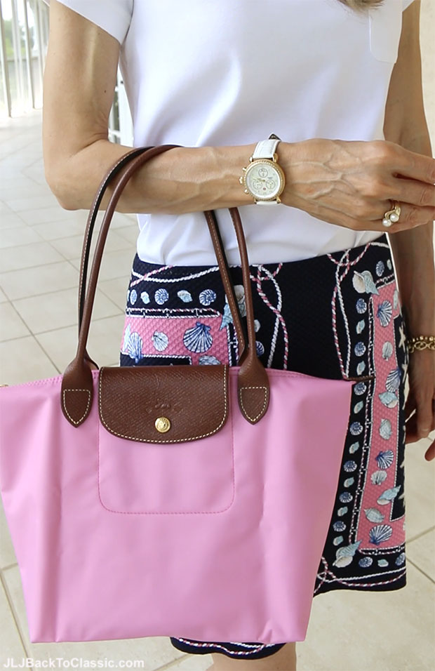 Classic-Fashion-Over-50-Talbots-Pink-Navy-Skirt-Longchamp-Tote-Michele-Watch