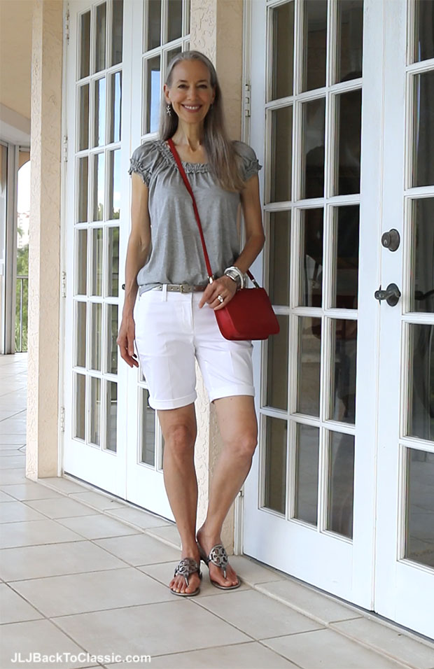 Classic-Fashion-Over-40-Ann-Taylor-White-Shorts-Talbots-Bag-Tory-Burch-Sandals