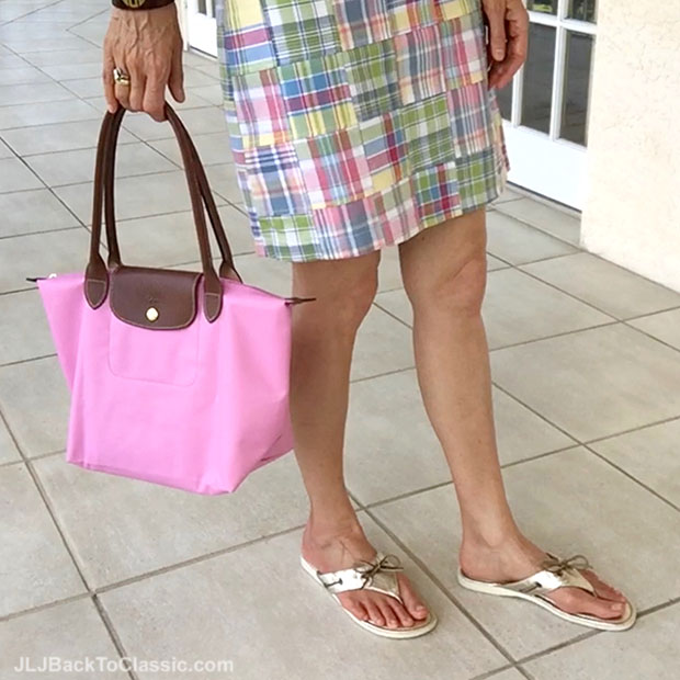 Classic-Fashion-Over-40-Plaid-Skirt-Longchamp-Le-Pliage-Tote-Sperry-Thongs