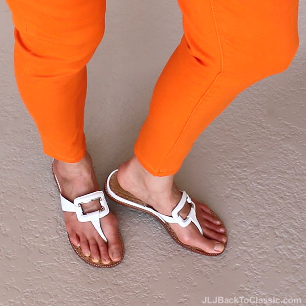 Classic-Fashion-Over-40-Ralph-Lauren-Orange-Premier-Cropped-Skinny-Jean-White-Cole-Haan-Sandals