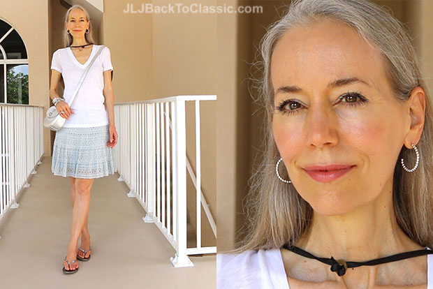 Classic-Fashion-Over-40-White-J.-Crew-Tee-Blue-Lace-Skirt-Talbots-Silver-Crossbody