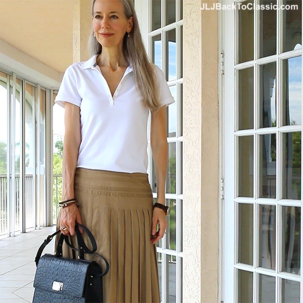 151b8c2d1752 (Video) Classic Fashion Over 40/50: Preppy White Polo Shirt, Tan Ann Taylor  Knife Pleat Skirt, Peep-Toe Wedges, and A Navy Kate Spade Top-Handle Bag