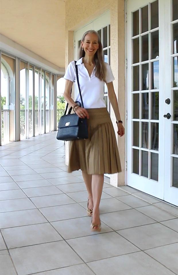Preppy-Over-40-Polo-Shirt-Ann-Taylor-Pleated-Skirt-Kate-Spade-Bag