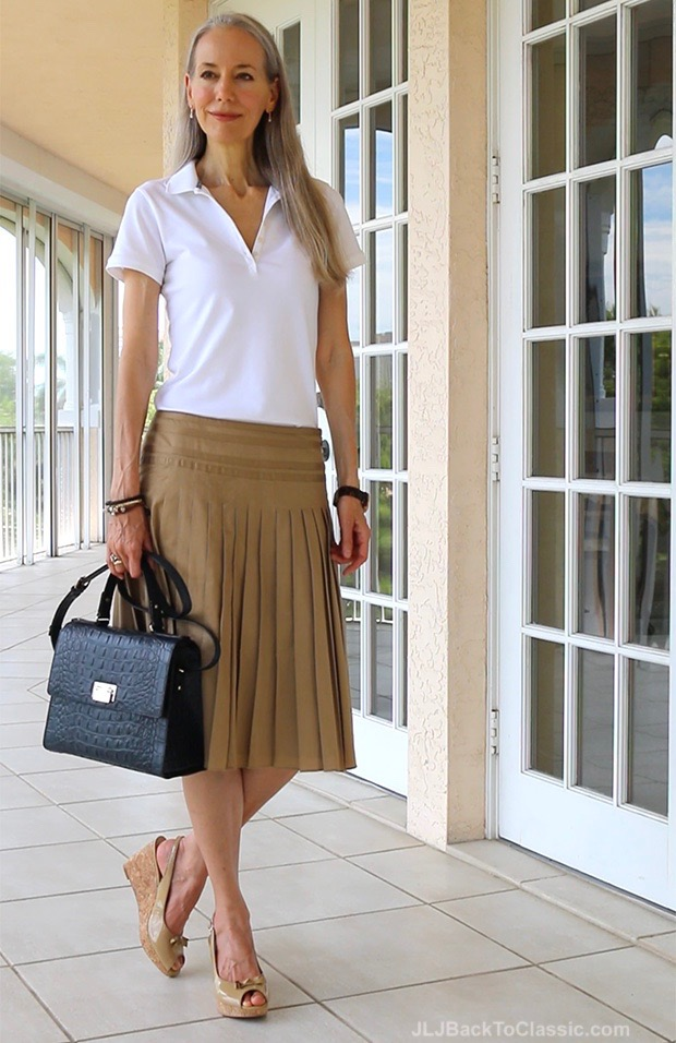 Preppy-Over-40-Polo-Shirt-Ann-Taylor-Pleated-Skirt-Kate-Spade-Bag
