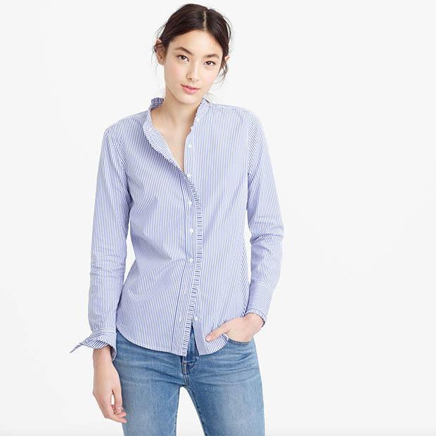 classic-fashion-over-40-50-j-crew-ruffle-button-up-shirt-stripe