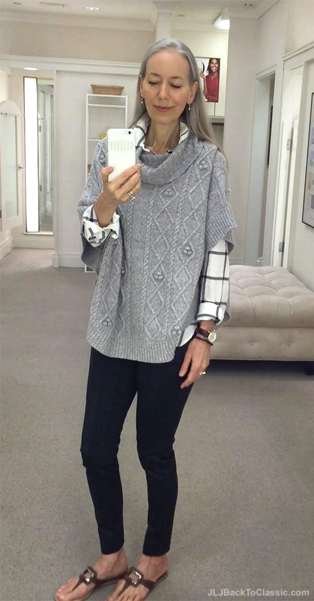 classic-fashion-over-40-talbots-ash-heather-cowlneck-poncho-plaid-longer-shirt