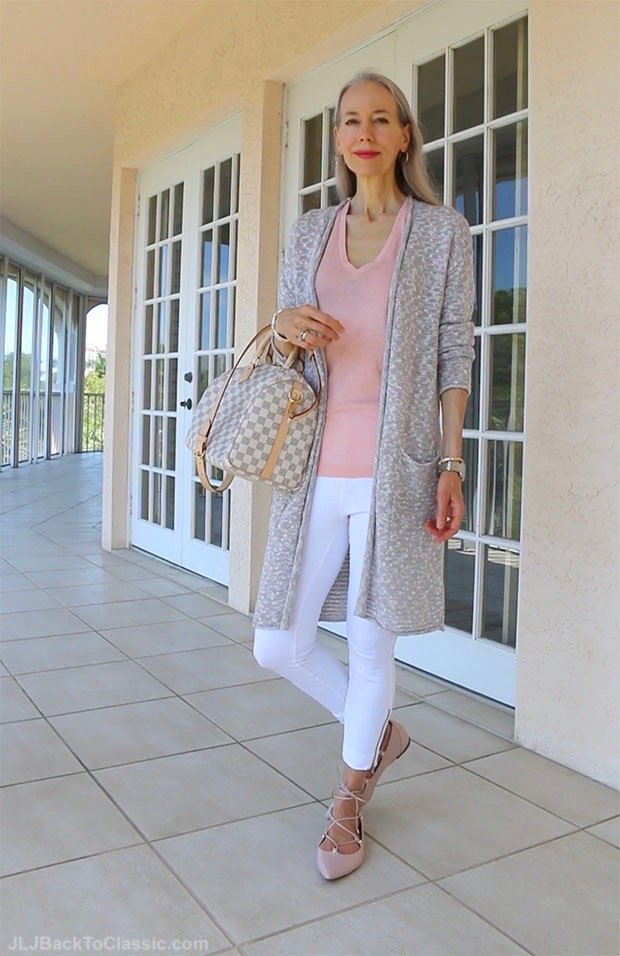 classic-fashion-over-40-50-long-cardigan-white-leggings-blush-ghillies-speedy