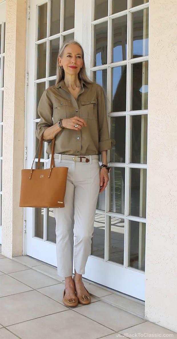 classic-fashion-over-40-50-j-crew-fatigue-shirt-gigi-ny-tote