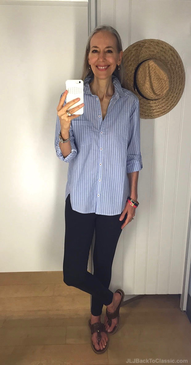 classic-fashion-over-40-50-striped-blue-chambray-shirt-charcoal-zipper-leggings