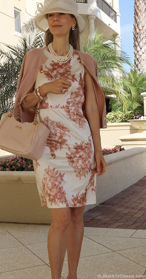 classic-fashion-over-40-blush-ann-taylor-sheath-dress-cardigan-ferragamo-bag