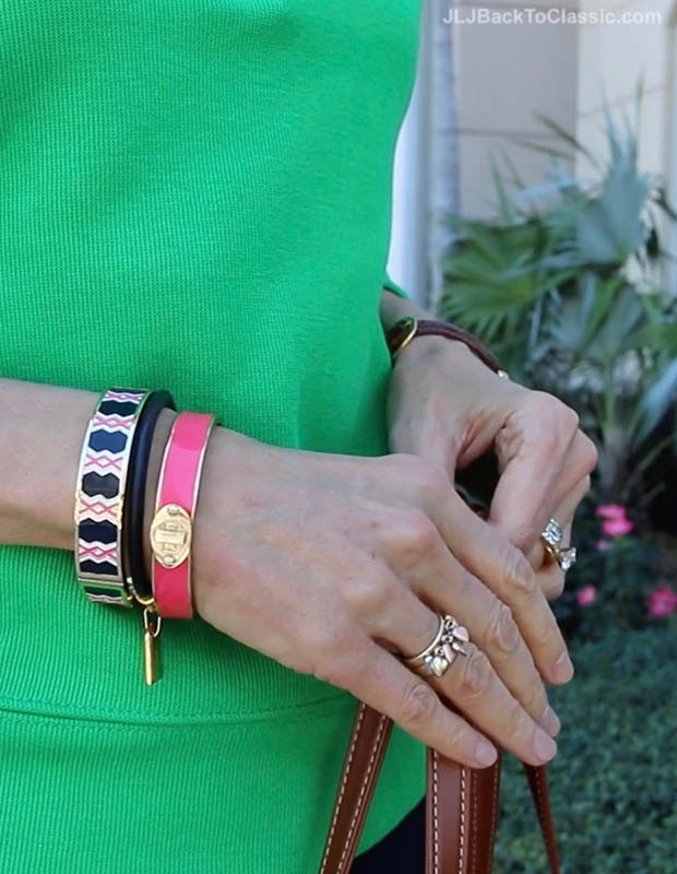 Classic-Fashion-Over-40-Ralph-Lauren-Kelly-Green-Pullover-Talbots-TUrnlock-Enamel-Bangles