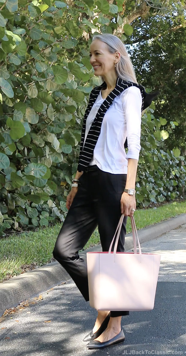 classic-fashion-over-40-ankle-pants-ruffle-tee-pink-kate-spade-tote