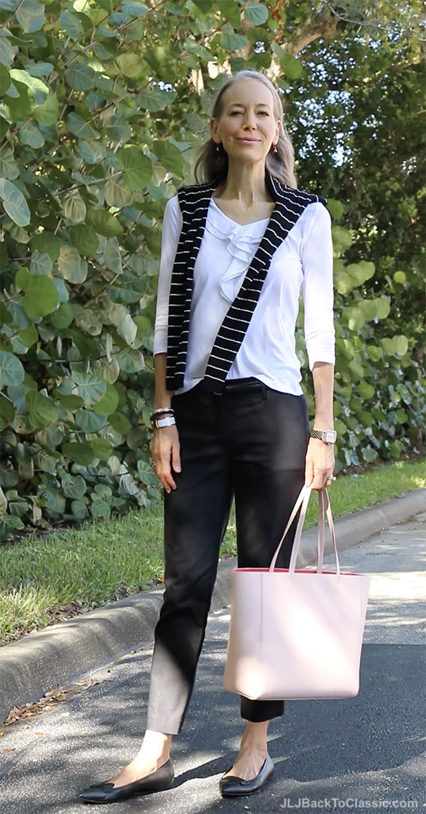classic-fashion-over-40-black-ankle-pants-striped-sweater-white-ruffle-tee