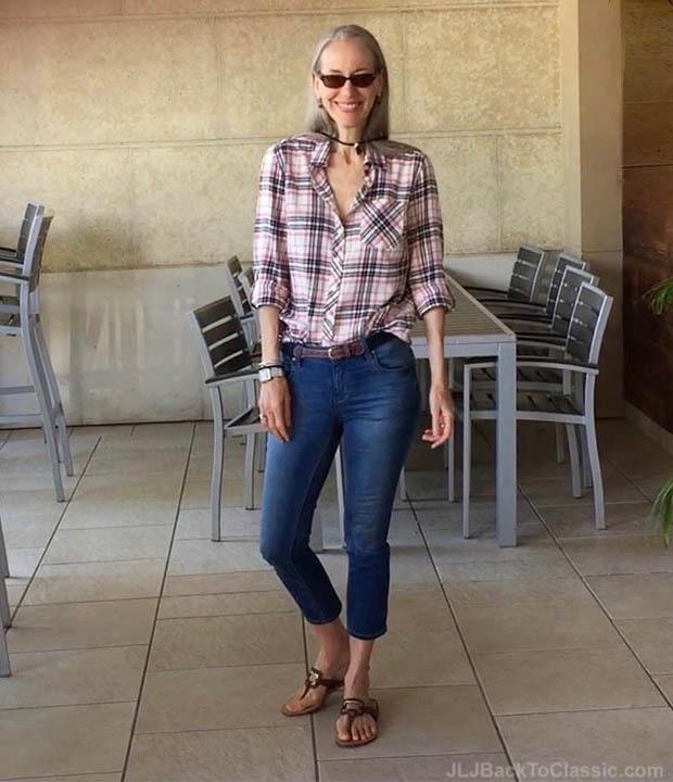 Classic-Fashion-Over-40-Skinny-Jeans-Talbots-Plaid-Shirt-Janis-Lyn-Johnson