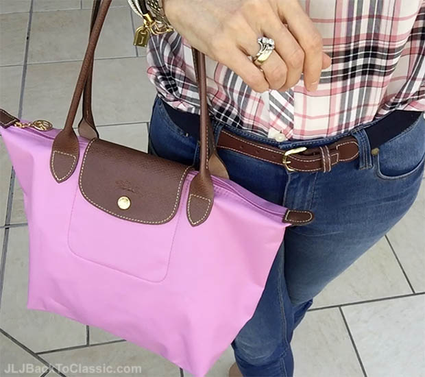 Classic-Fashion-Over-40-Skinny-Jeans-Talbots-Plaid-Shirt-Pink-Longchamp-Tote