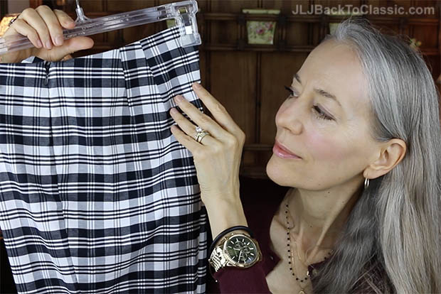 Classic-Fashion-Over-40-50-Talbots-Black-&-White-Sutton-Plaid-Tailored-Ankle-Pant