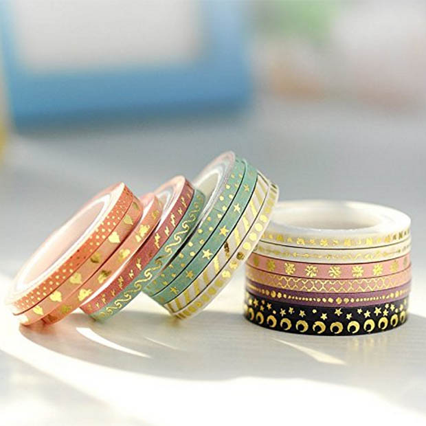 Classic-Home-Office-Organization-Gold-Foil-Washi-Tape-Amazon
