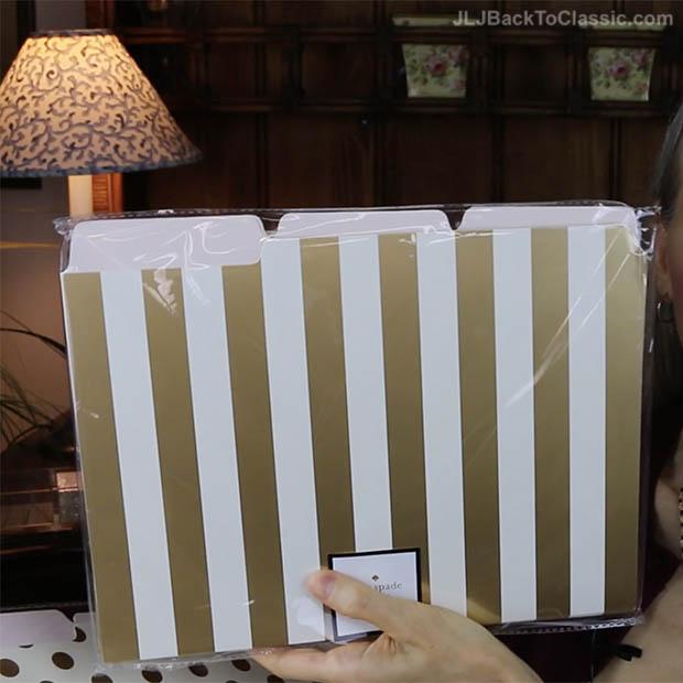 Classic-Home-Office-Organization-Kate-Spade-Gold-Foil-Polka-Dot-and-Stripe-File-Folders