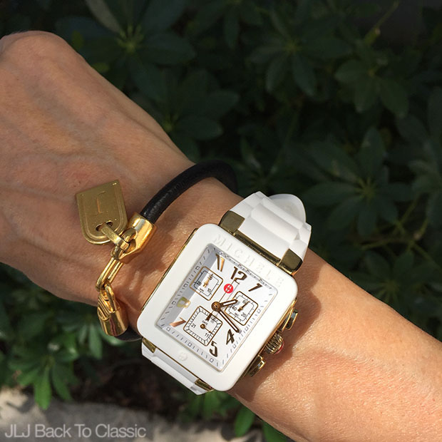Classic-Fashion-Over-40-50-Michele-White-Jelly-Watch-Leather-Initial-Bracelet