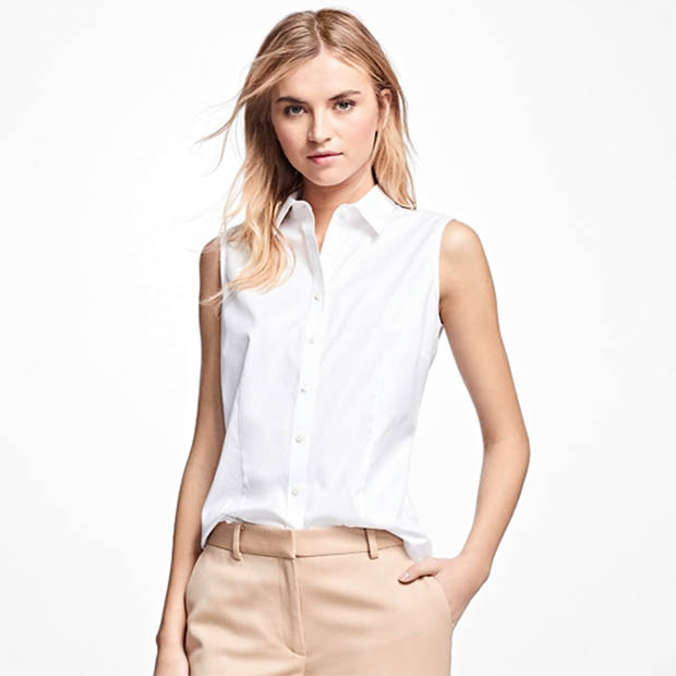 Classic-Fashion-Over-40-Brooks-Brothers-Sleeveless-Cotton-Dress-Shirt-