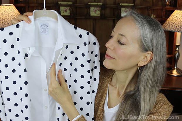 Classic-Fashion-Over-40-Brooks-Brothers-Sleeveless-Cotton-Shirt-J.-Crew-Dot-Cardigan-Patina