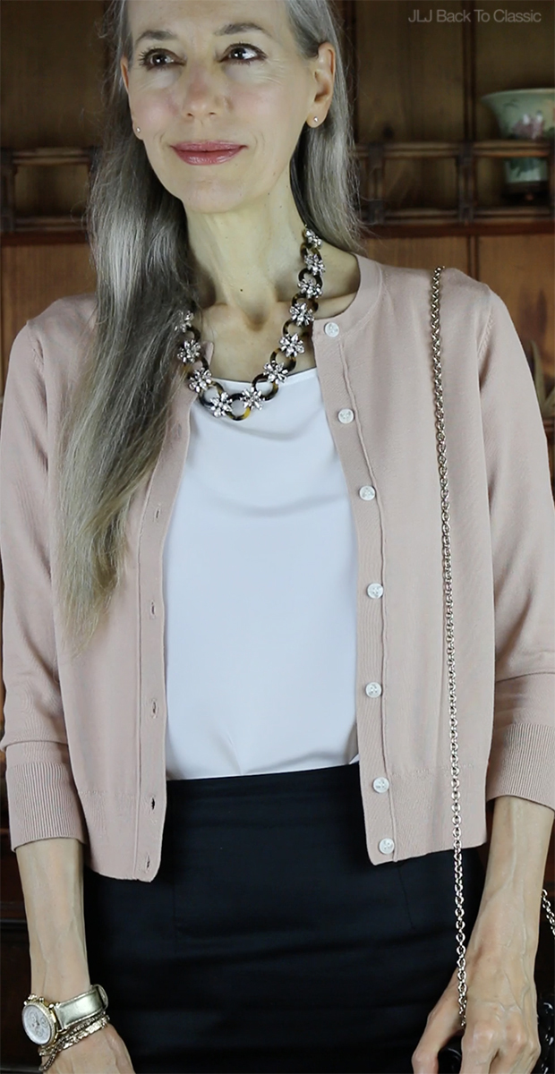 Classic-Fashion-Over-40-Ann-Taylor-Blush-Ann-Cardigan-Tortoise-Crystal-Necklace