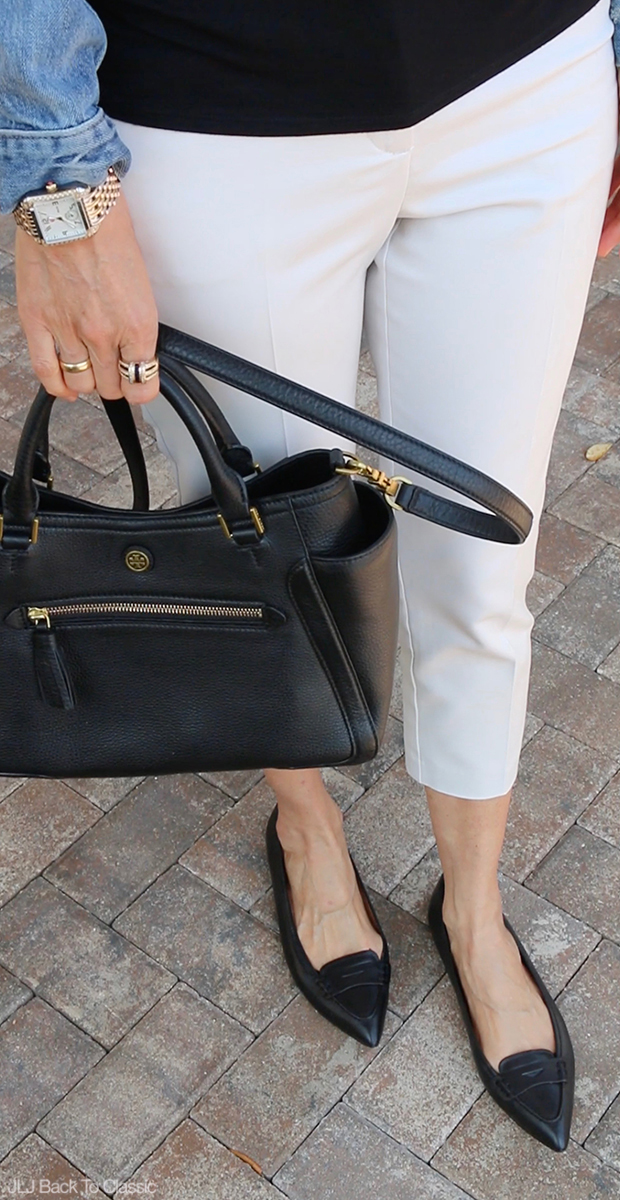 Classic-Fashion-Brooks-Brothers-Black-Pointy-Toe-Flats-Tory-Burch-Frances-Satchel