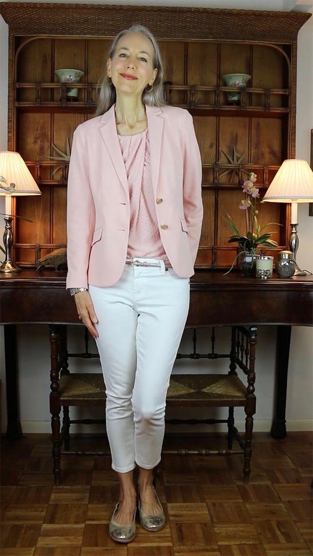 Classic-Fashion-Over-40-50-Talbots-Twist-Front-Top-Aberdeen-Knit-Blazer