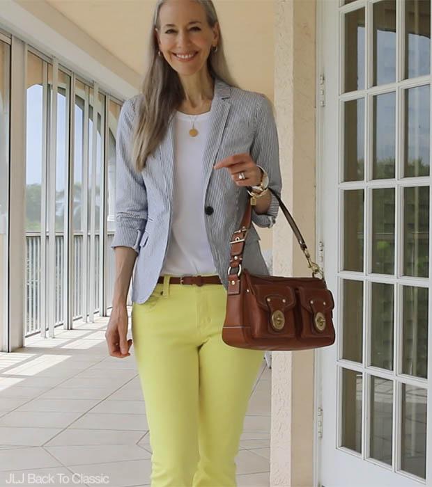 Classic-Fashion-Over-40-Seersucker-Blazer-Yellow-Skinny-Jeans-Coach-Leather-Bag