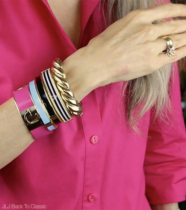 Classic-Fashion-C-Wonder-Monogram-Bracelet-Talbots-Enamel-And-Gold-Rope-Bangles