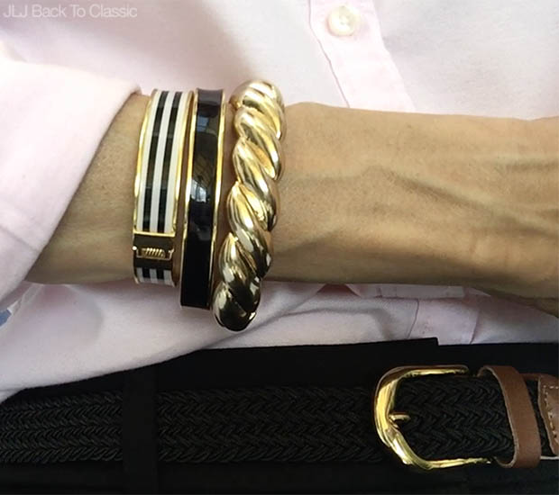 Classic-Fashion-Over-40-Talbots-Enamel-And-Gold-Rope-Bangles