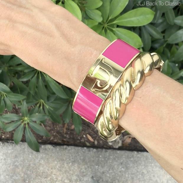 Classic-Fashion-C-Wonder-Pink-Enamel-Monogram-Bracelet-Talbots-Gold-Rope-Bangle