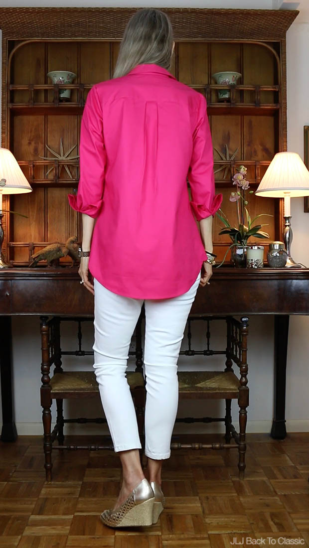 Classic-Fashion-Over-40-50-Isaac-Mizrahi-Raspberry-Button-Front-Tunic-Blouse