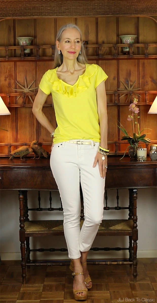 Classic-Fashion-Over-40-Janis-Lyn-Johnson-Isaac-Mizrahi-Ruffle-Front-Tee