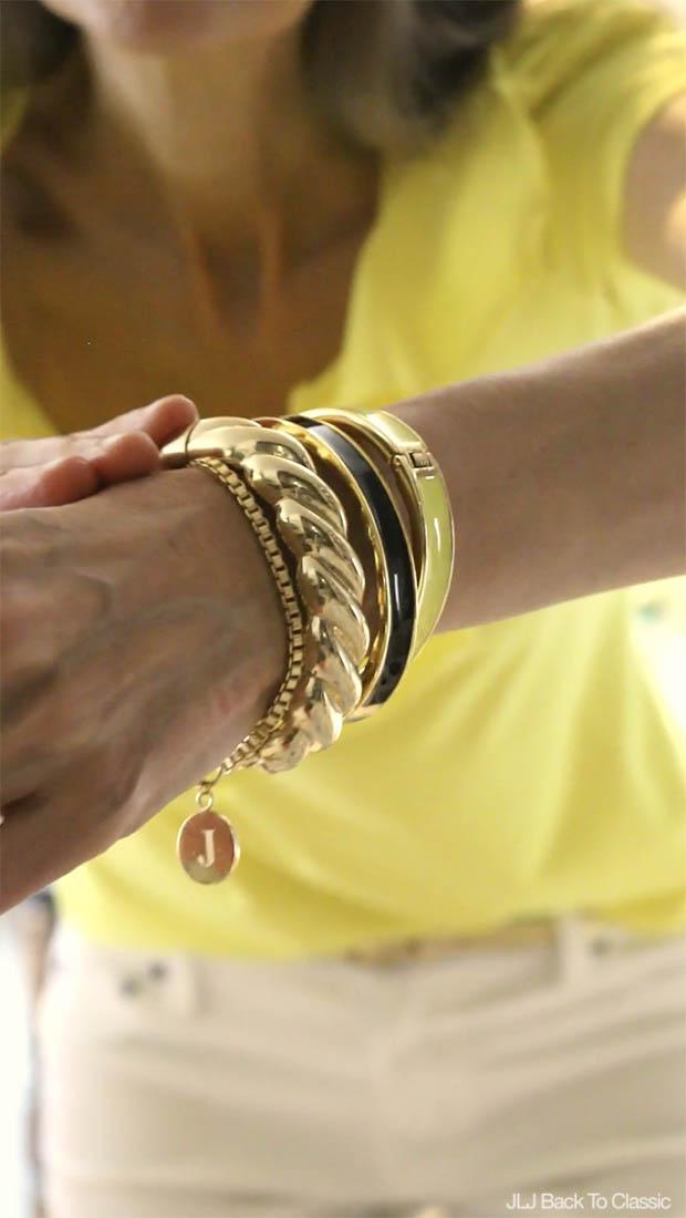 Classic-Fashion-Talbots-Enamel-Bangles-and-Gold-Rope-Bangle