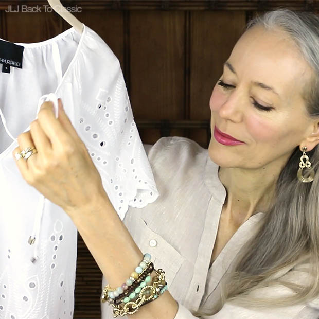 Classic-Fashion-Over-40-50-Cynthia-Rowley-White-Eyelet-Peasant-Top-Review