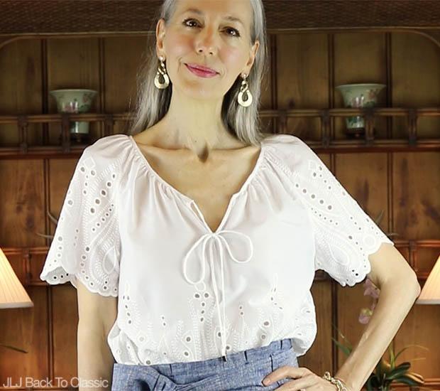 Classic-Fashion-Over-40-Janis-Lyn-Johnson-Cynthia-Rowley-White-Eyelet-Top