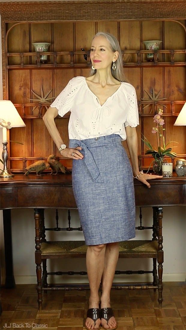 Classic-Fashion-Ann-Taylor-Chambray-Paper-Bag-Skirt-Janis-Lyn-Johnson