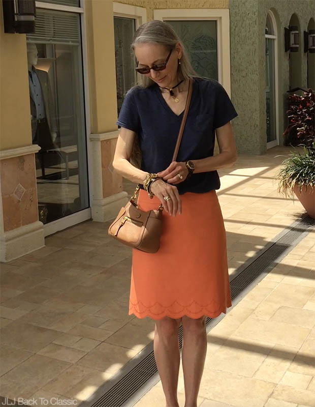 Classic-Fashion-Over-40-50-Talbots-Scalloped-Skirt-Tory-Burch-Frances-Satchel