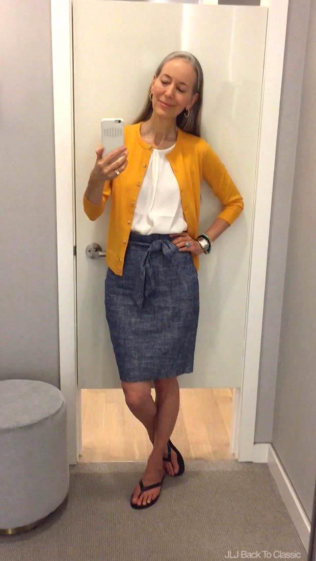 Classic-Fashion-Over-40-Ann-Taylor-Ann-Cardigan-Chambray-Paper-Bag-Skirt