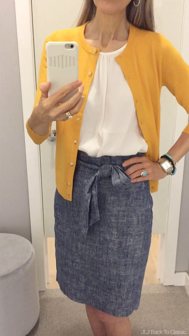 Classic-Fashion-Over-40-Ann-Taylor-Ann-Cardigan-Chambray-Paper-Bag-Skirt